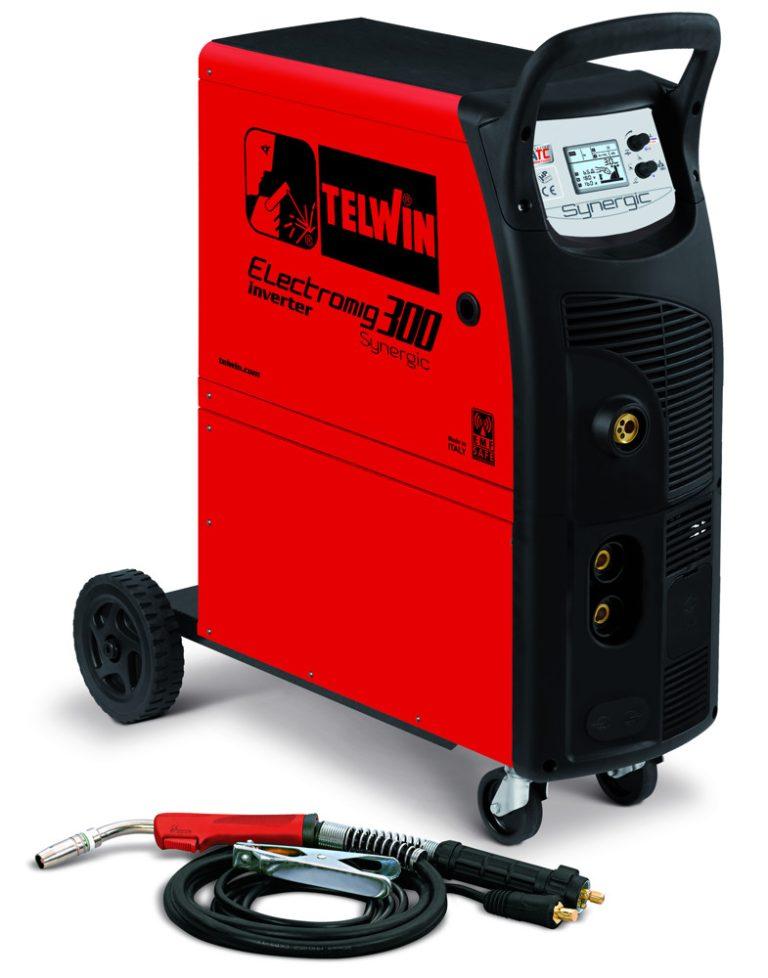 Electromig 300 Synergic hegesztőgép beépített kerekekkel és hátsó palacktartóval