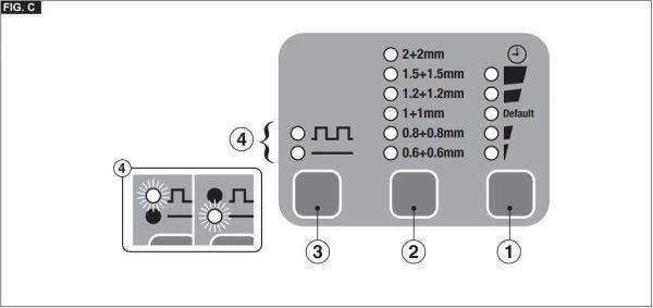 A Digital Modular 230 kézi ponthegesztő beállításának lehetőségei.