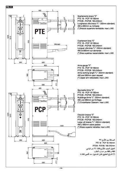 A PTE-PCP típusú hegesztőgép modellek pontos méreteinek ismerete segíti a felhasználót a gép helyigényének felmérésében még vásárlás előtt. Ezek az adatok a munkafolyamatok megtervezését is támogatják.
