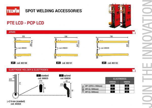 A ponthegesztés során a nyomóerőt emelőkarok és rugók közvetítik az elektródákra, a legnagyobb elektródanyomás kb. 300 N. A PTE-PCP típusú hegesztőgép modellek karjainak mérete, valamint az elektróda-átmérők megismerhetők erről az információs adatlapról.
